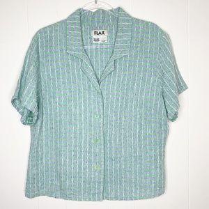 FLAX Green Blue Plaid Short Sleeve Button Down M